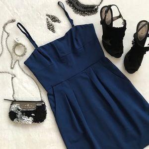 BCBGMaxAzria Blue Mini Dress Detachable Straps 6